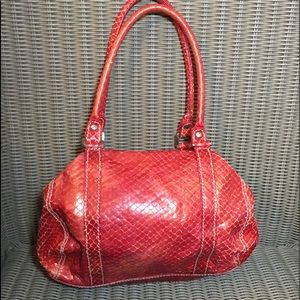 Francesco Biasia handbag in red snake skin